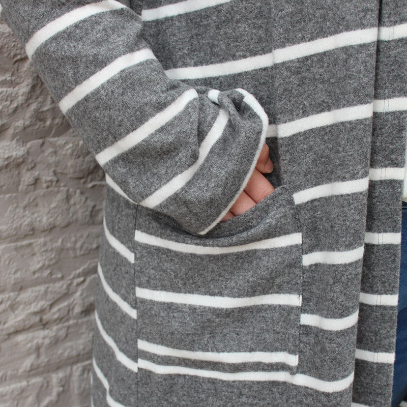Grey/White Stripe Cardigan
