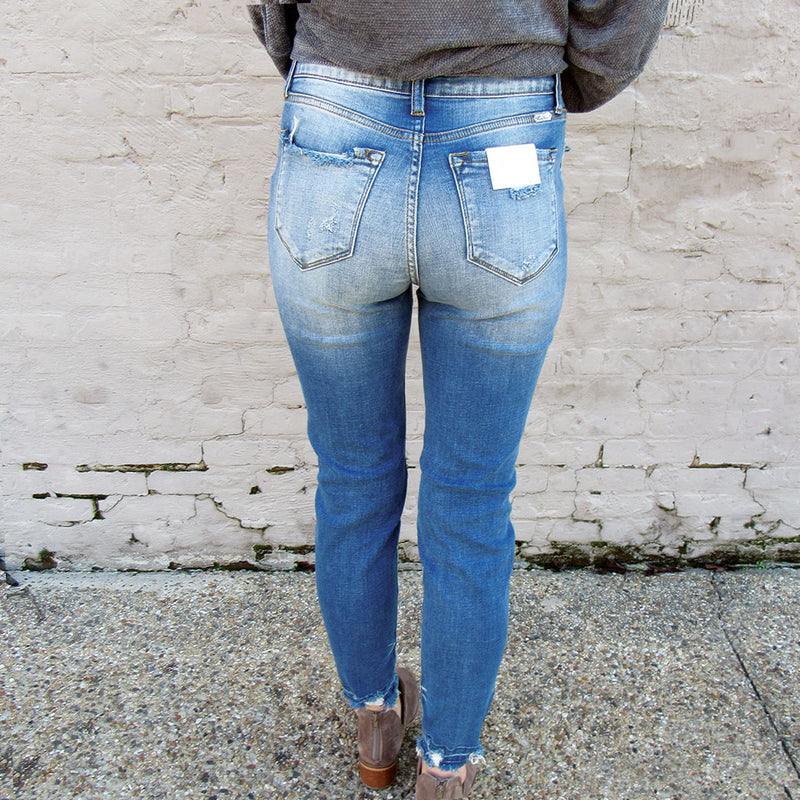 Distressed Hem Jean