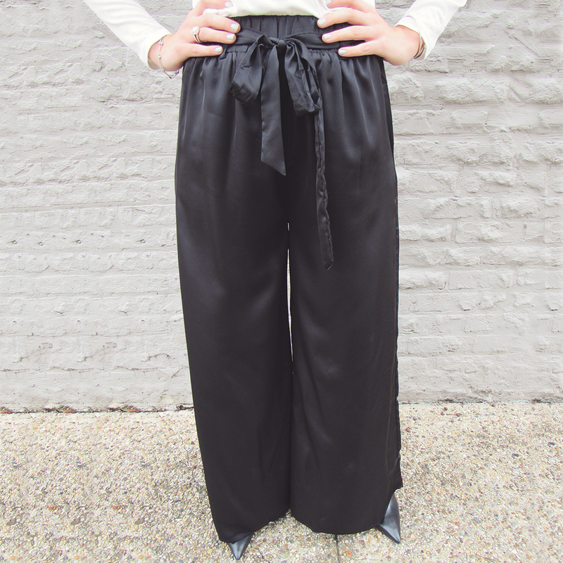 Black Satin Flare Pants