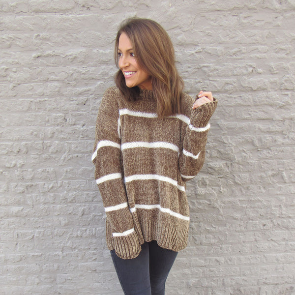 Caramel Stripe Chenille Sweater
