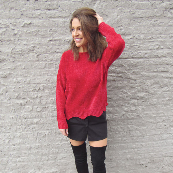 Cherry Chenille Scallop Sweater
