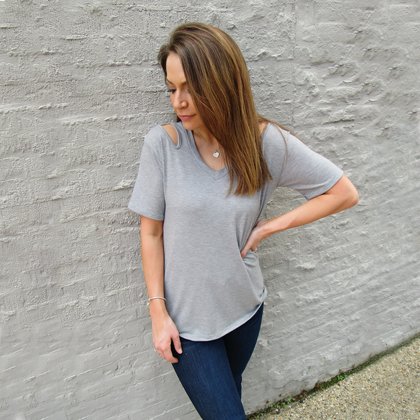 Heather Open Shoulder Knit Top