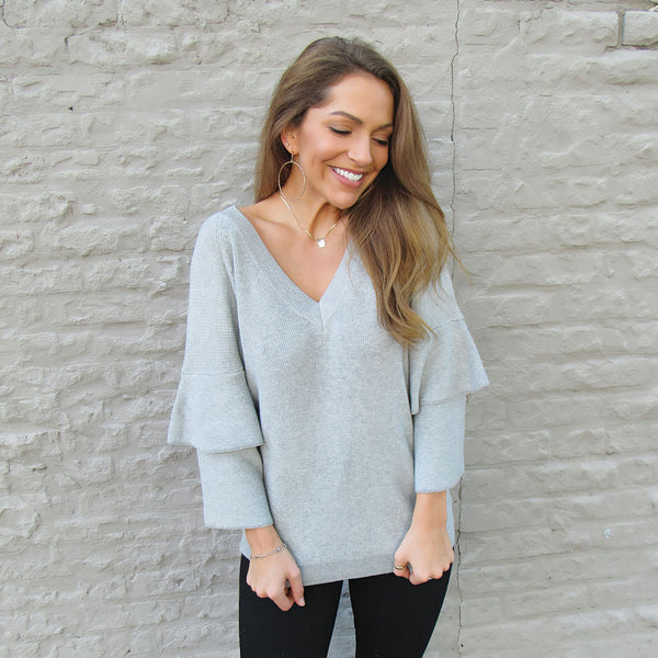 Light Grey Ruffle Sweater