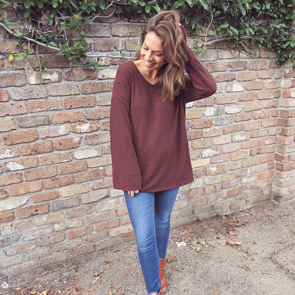 Cinnamon Knit Flare Sleeve Top