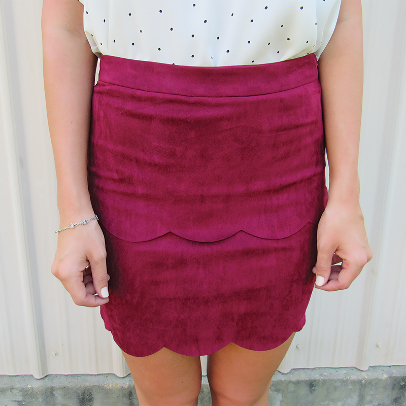 Scalloped Faux Suede Skirt