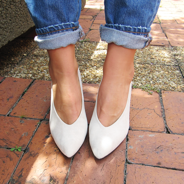 V Cut Suede Pump