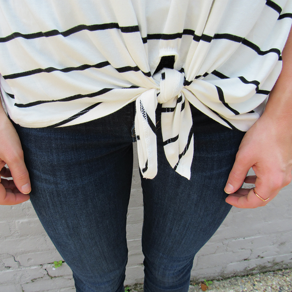 Striped Hemline Tie Tee