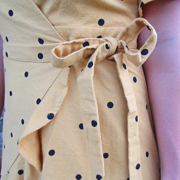 Woven Polka Dot Wrap Dress