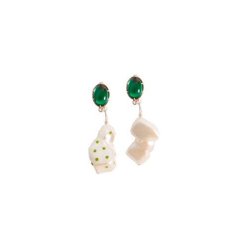 ELLE BAROQUE PEARL EMERALDS Earring