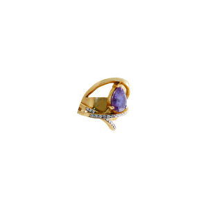 STELLA WITH DIAMONDS AMETHYST GOLD Pinky Ring