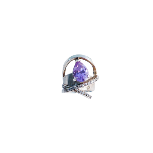 STELLA WITH DIAMONDS AMETHYST SILVER Pinky Ring