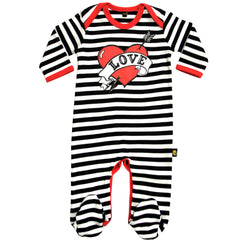 Loveheart black and white sleepsuit