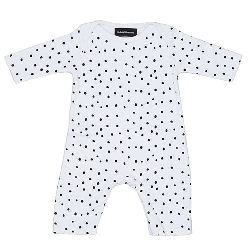 white and black spot print babygrow