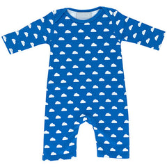 ink blue and white cloud babygrow