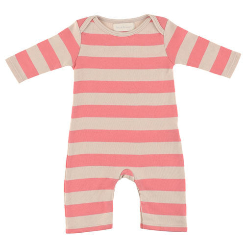 posy pink and sand striped babygrow