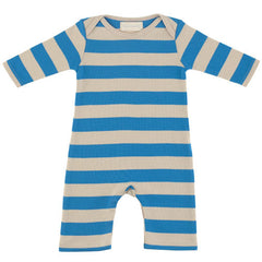sailor blue and sand striped babygrow