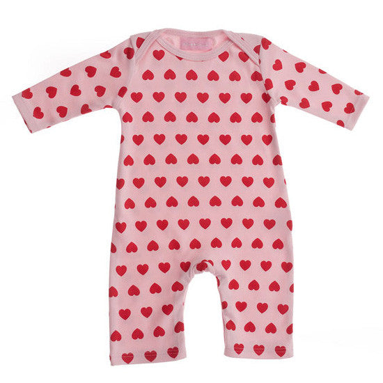 pale pink & raspberry heart baby grow