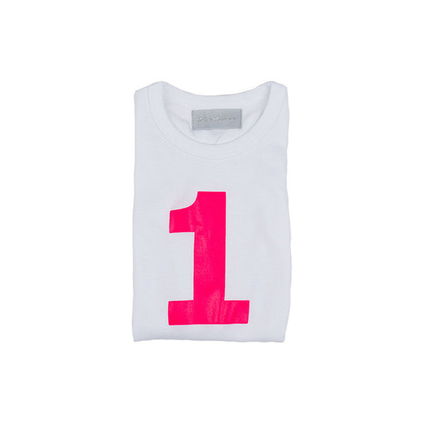 Neon pink skinny number 1 t-shirt