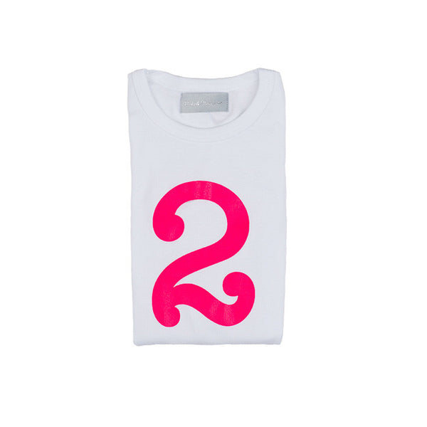 Neon pink skinny number 2 t-shirt
