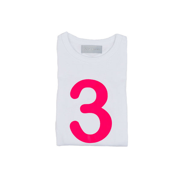 Neon pink skinny number 3 t-shirt