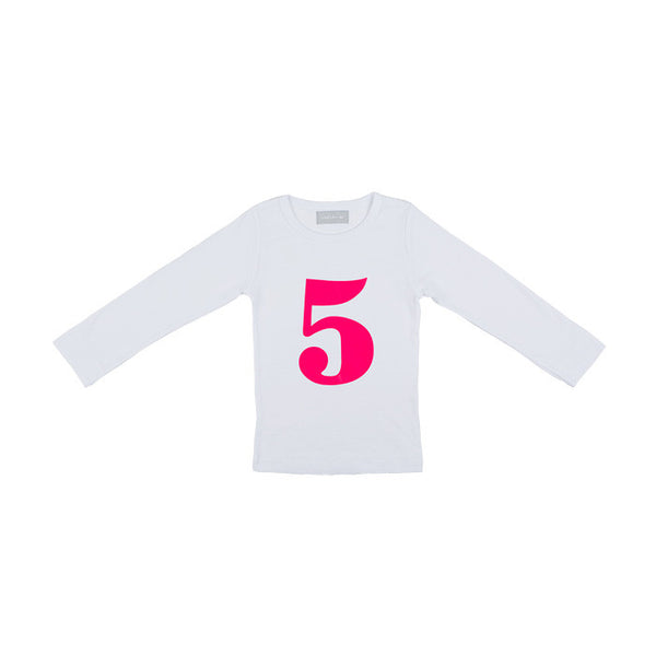 Neon pink skinny number 5 t-shirt