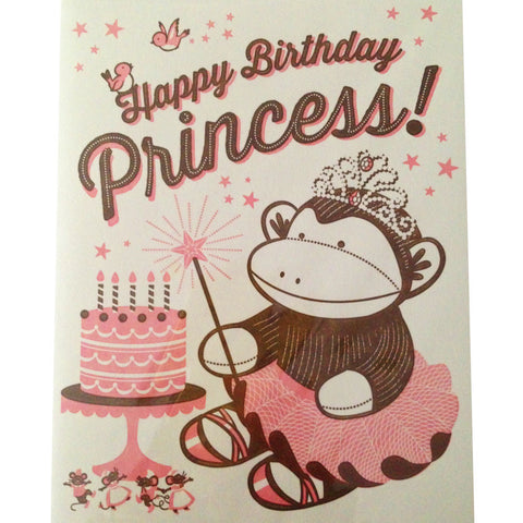 sock monkey princess birthday card