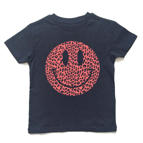 pink smiley leopard t-shirt