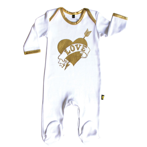 gold and white love onesie