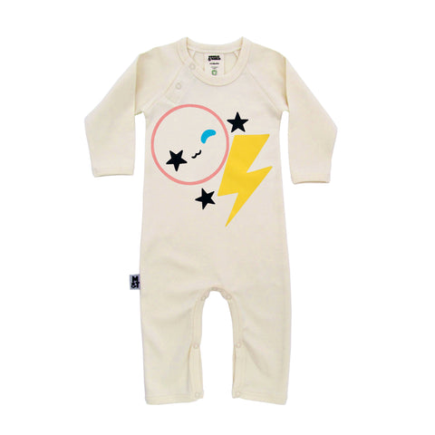 'Be Yourself' romper (yellow lightning bolt)
