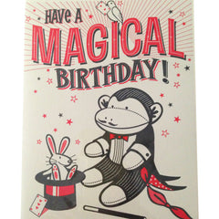 sock monkey magician birthday card