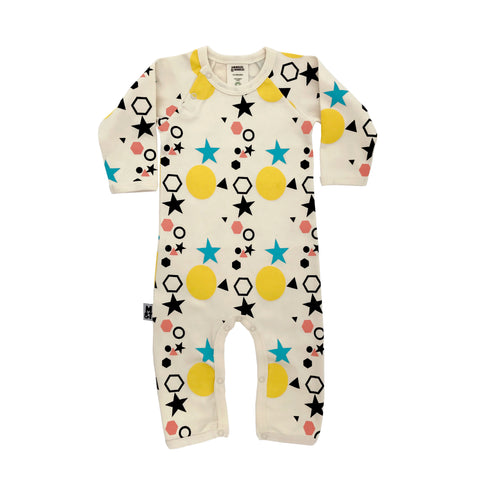 'Shapes' Long Sleeved Organic Cotton Romper