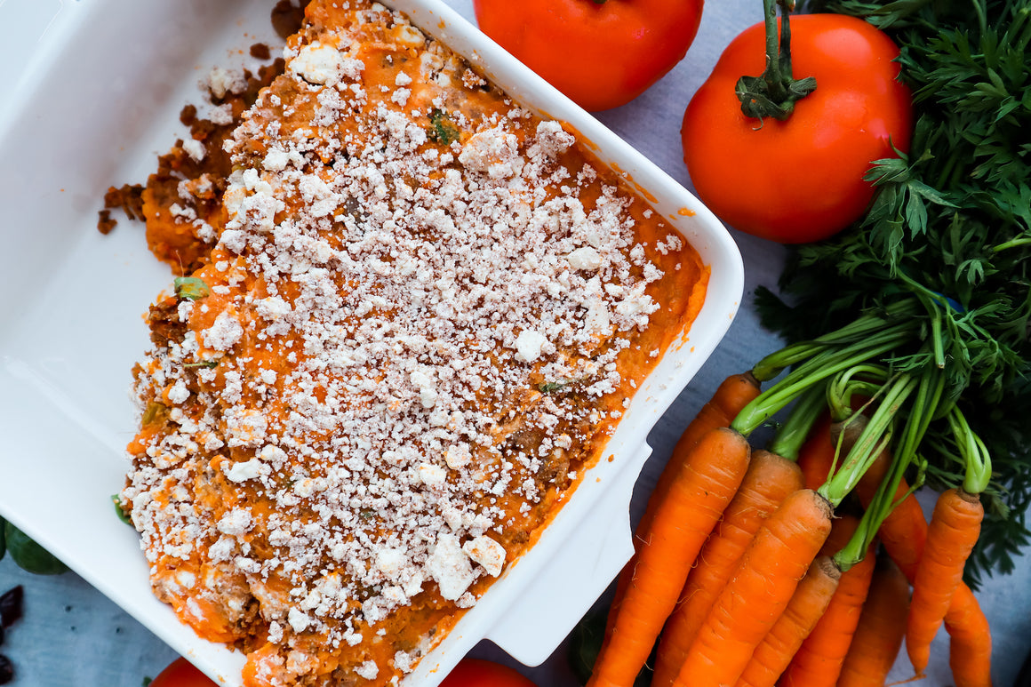 Cottage Pie w/ Sweet Potato Mash with Cinnamon & Feta Crumble
