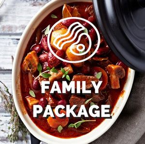 Family package  $8.50 per meal