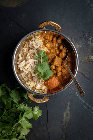 Chickpea & Veg Curry Served With spice infused Brown Rice