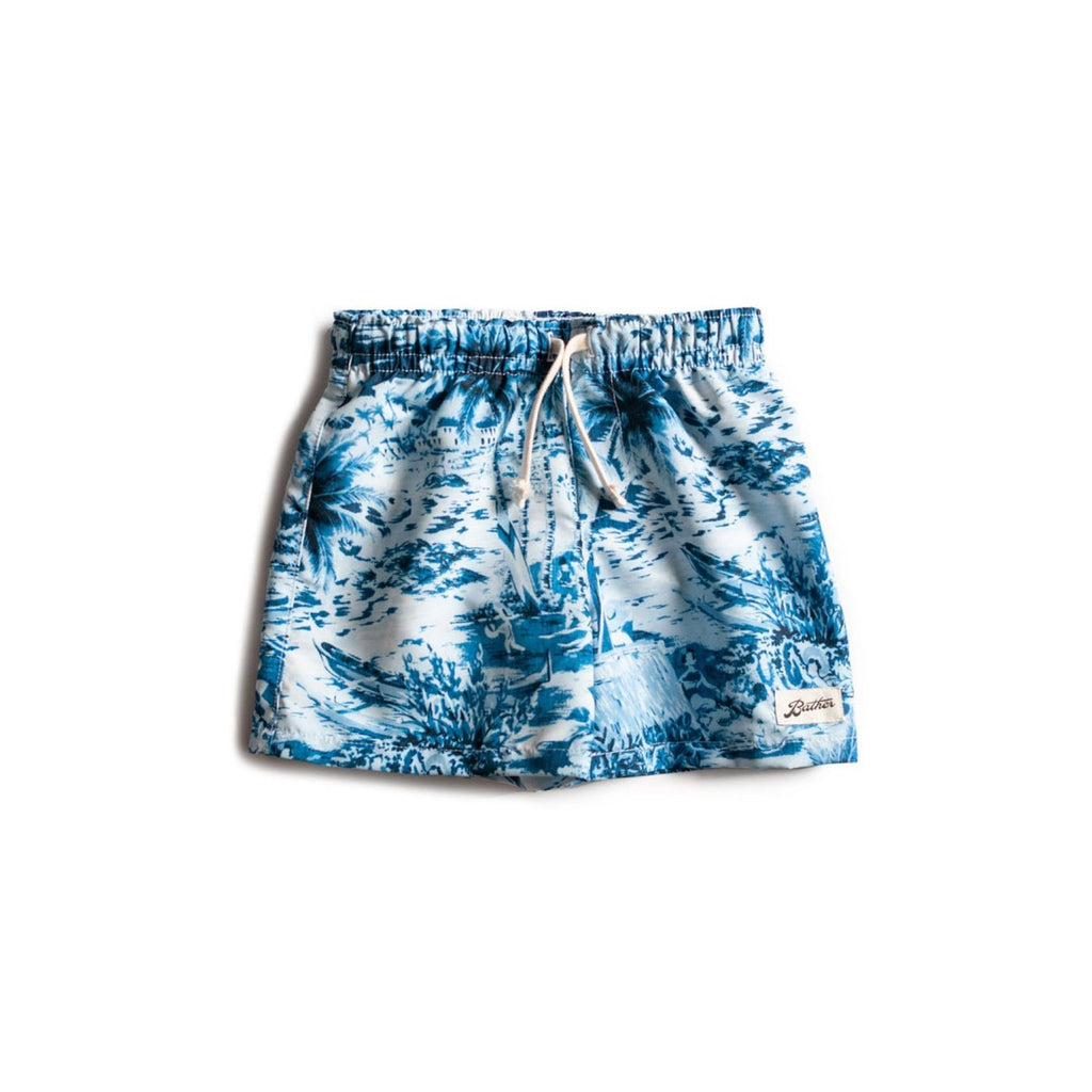 Kids' Navy Aloha Swim Trunk