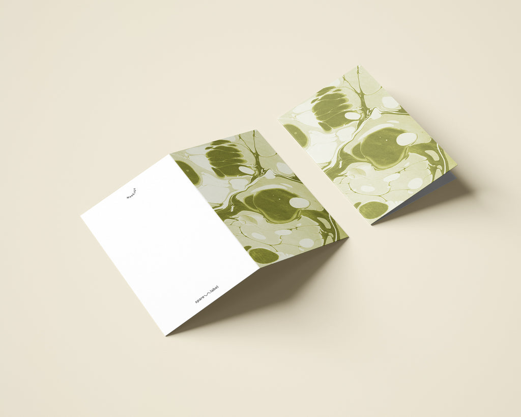 Marbled Notecard with Envelope - Green