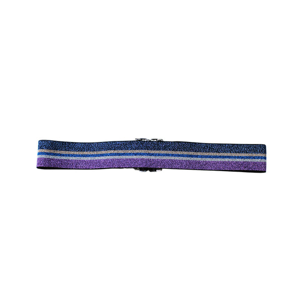 Elastic waist belt in glitter purple