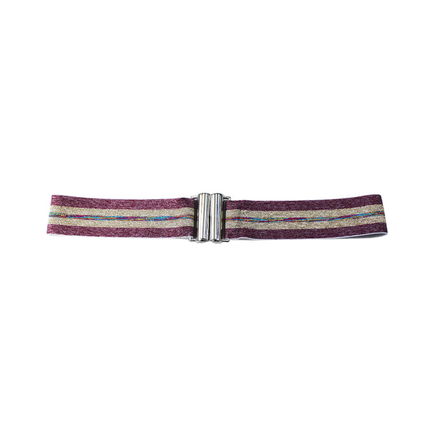 Elastic waist belt in glitter Rose