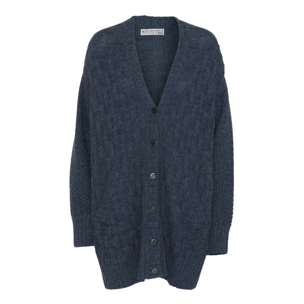 Hand knitted alpaca cardigan - Blue