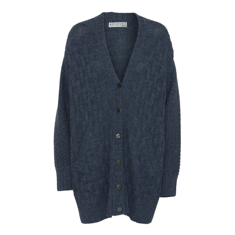 Hand knitted alpaca cardigan-Blue