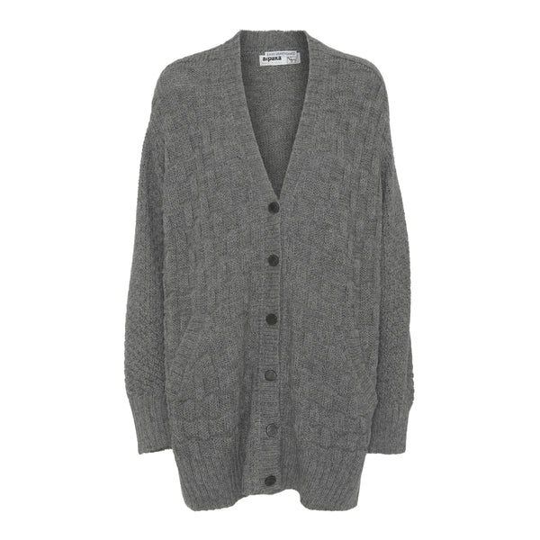 Hand knitted alpaca cardigan - Grey