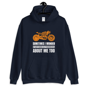 Sometimes I Wonder if My Bike is Thinking About Me - Biker Hoodie - Blue, City Radical, Biker Store
