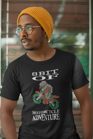 8 bit Motorcycle Adventure Design - Biker T Shirt,  - City Radical