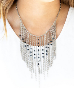 First Class Fringe-Blue Necklace