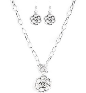 Beautifully In Bloom-Silver Necklace