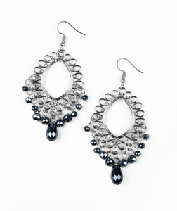 Just Say Noir-Blue Earrings