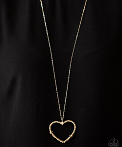 Straight From The Heart-Gold Necklace