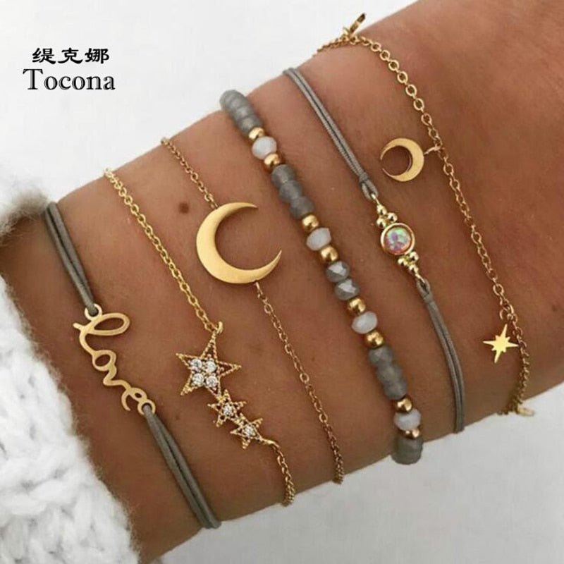 Tocona Bohemia New Arrival Gold Color 6pcs/sets Bracelets For Women Ladies Moon Star Letter Shape Design Bangles Jewelry 6523