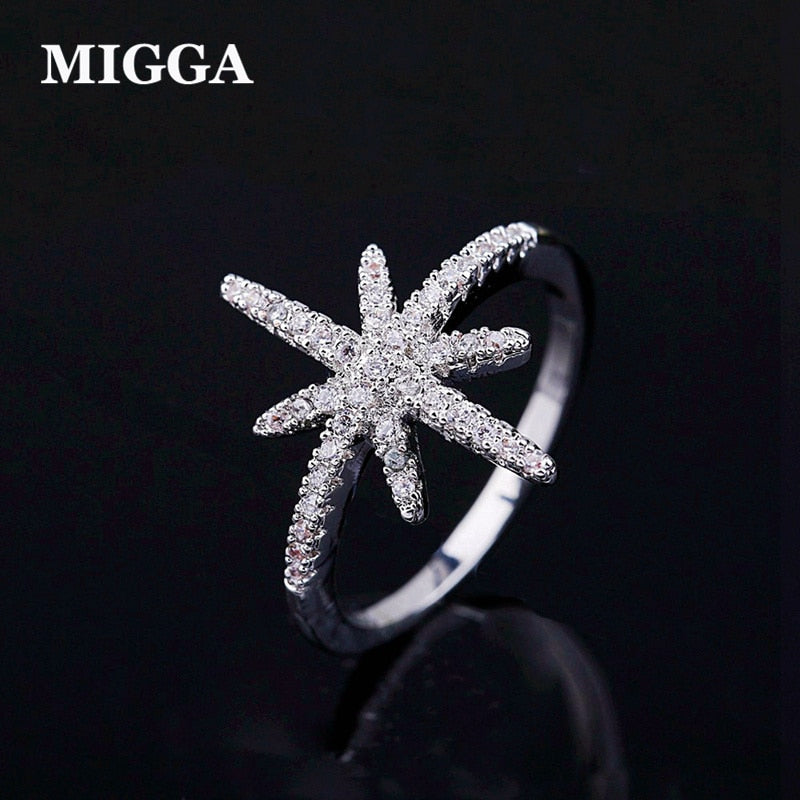MIGGA High Quality Micro Paved Cubic Zirconia Star Ring for Women CZ Stone Crystal Bague Jewelry