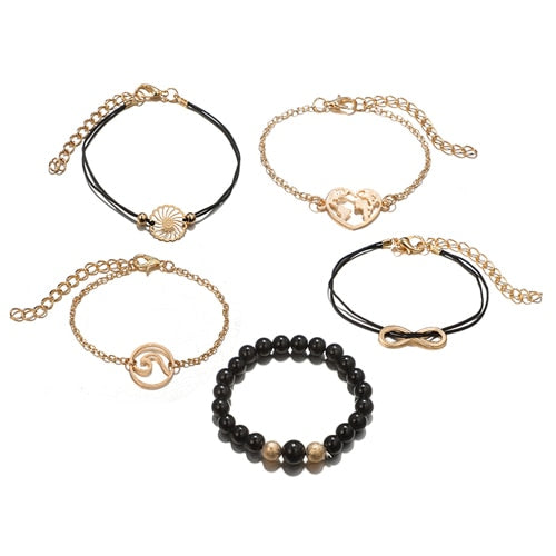 Tocona 5PCS/Set Bohemia Wave Map Infinity Charm Beaded Chain Bracelets Set Black Rope Chian Bangle Jewelry for Women 6921